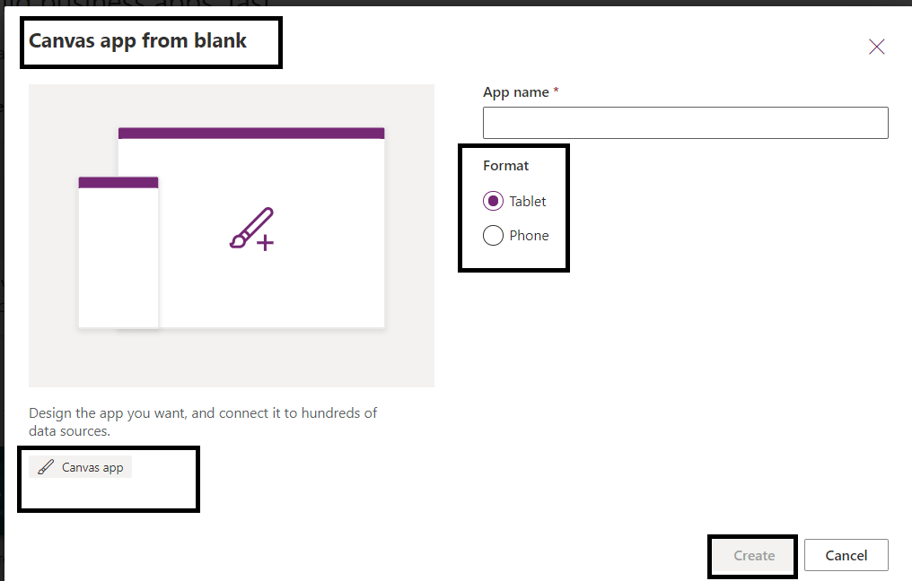 Power Platform - Power Apps - Creating blank canvas app - Specifying App Name and choosing the layout for the form