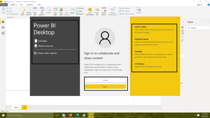 Power Platform - Power BI - Power BI Desktop with various options