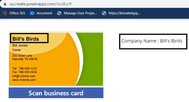 M365 - Power Platform -  Scanned the business card reader and displaying the company name