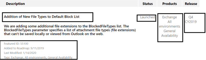 M365 - Microsoft Roadmap 55100 - Updated Feature: Blocked file types in Outlook on the web