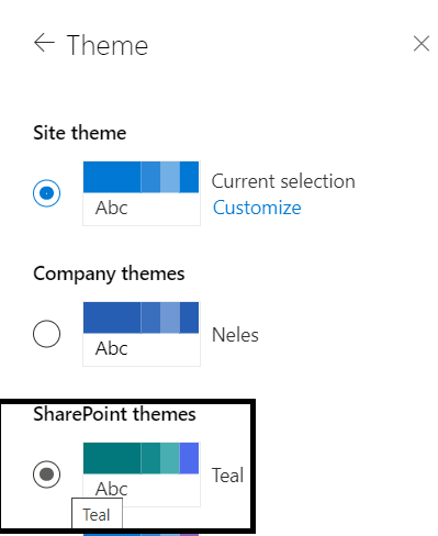 M365 - SharePoint Online - Teal Theme