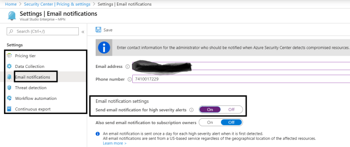 "Azure - Security Center - Settings => ""Pricing & settings"""