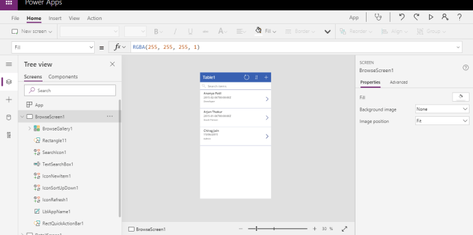 Power Platform – Power Apps – Canvas app showing data from Excel data source