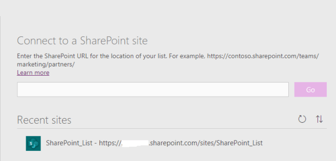 Power Platform – Power Apps – Connect t SharePoint site using URL