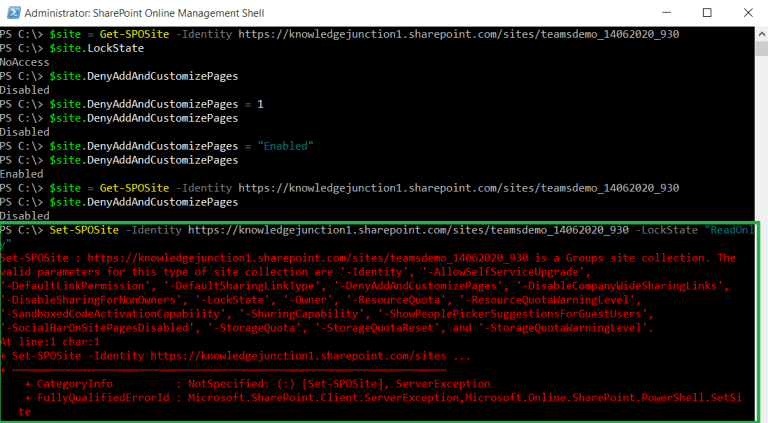 M365 - Set-SPOSite - Error - '' is a Groups site collection. The valid parameters for this type of site collection are - Parameter list