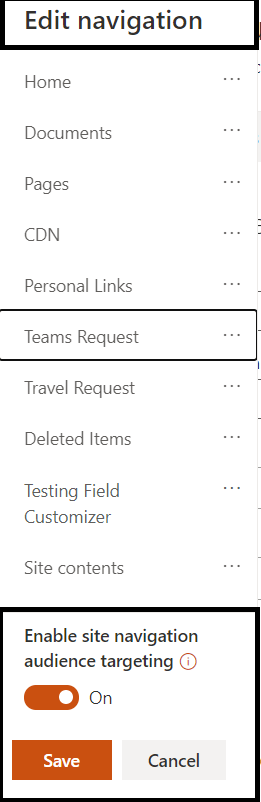 M365 - SharePoint Online - Audience Targeting feature is enabled for Site Navigation