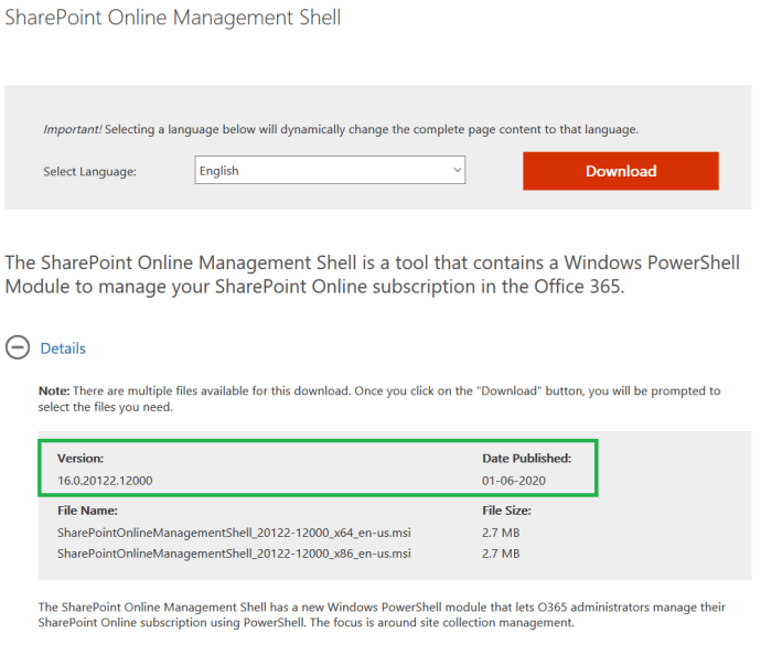 """M365 - Downloading latest version of """"SharePoint Online Management Shell"""""""