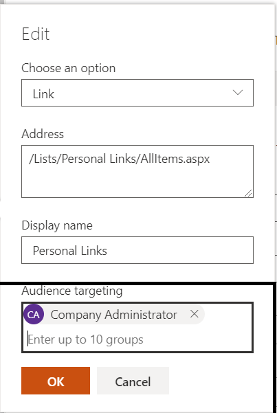 M365 - SharePoint Online - Audience Targeting for the navigation item - Adding Group