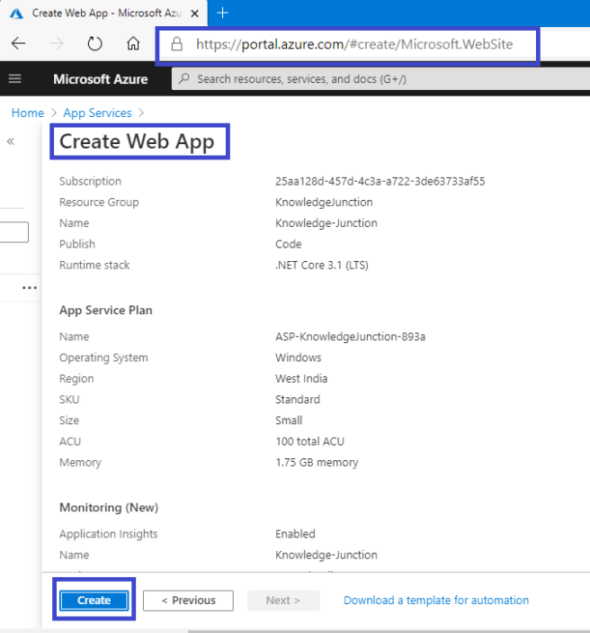Creating new Azure App Service - Summary page