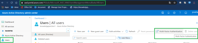Azure Active Directory admin center - Users dashboard - Multi-Factor Authentication