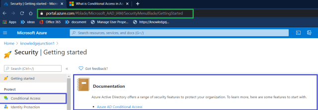 "Azure - Azure Active Directory >> Security >> Navigating to ""Conditional Access"""