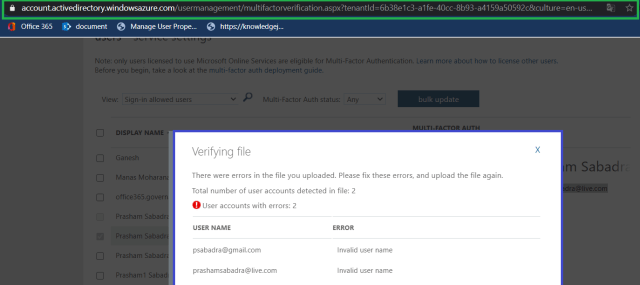 "Microsoft 365 - Azure Active Directory admin center - .CSV file for bulk user update - ""Verifying file"" dialog - showing error message for guest users"