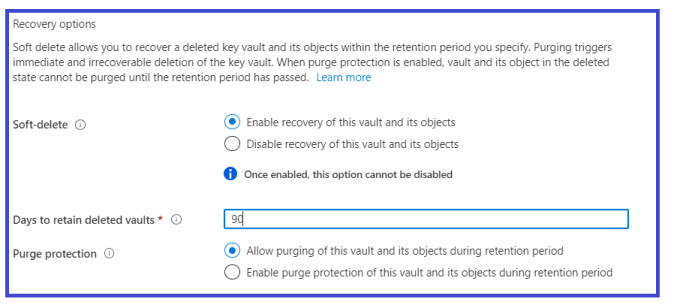 Azure - Key Vault - Creating new Key Vault >> Setting Recovery options