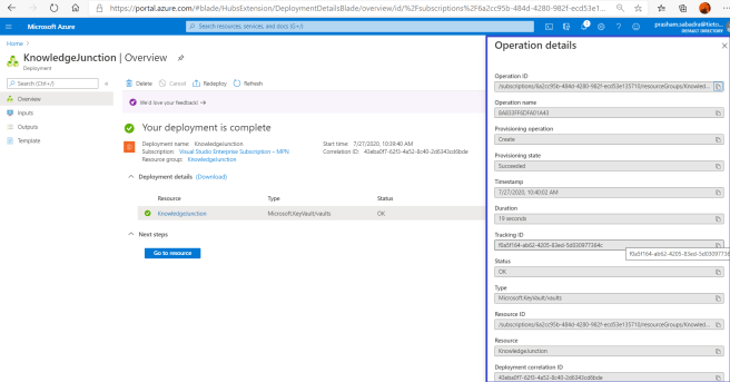 Azure - Key Vault - Azure Creating new Key Vault >> Details of newly created Key Vault
