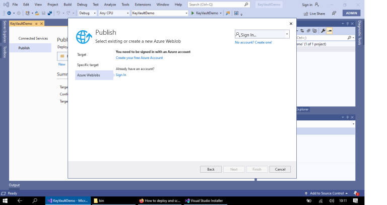 Azure - Publishing .NET Core console application to Azure as Azure Webjobs from Visual Studio 2019 - asking for Sign In