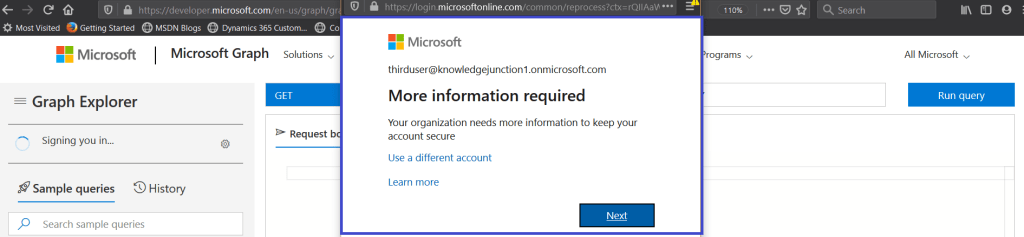 Microsoft Graph Explorer - Signing with user having no admin rights >> Testing Conditional Access policy