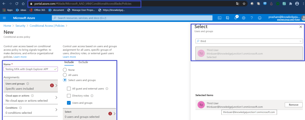 Azure - Azure Active Directory >> Security >> Conditional Access >> New conditional access policy