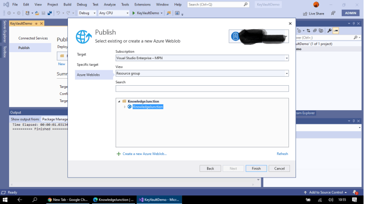 Azure - Publishing .NET Core console application to Azure as Azure Webjobs from Visual Studio 2019 - listing existing created App Service