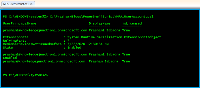 Azure - PowerShell cmdlet - Displaying MFA details where MFA state is Enabled and Disabled