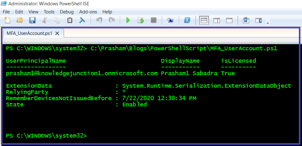 Azure - PowerShell cmdlet to update the Multi-Factor state of user