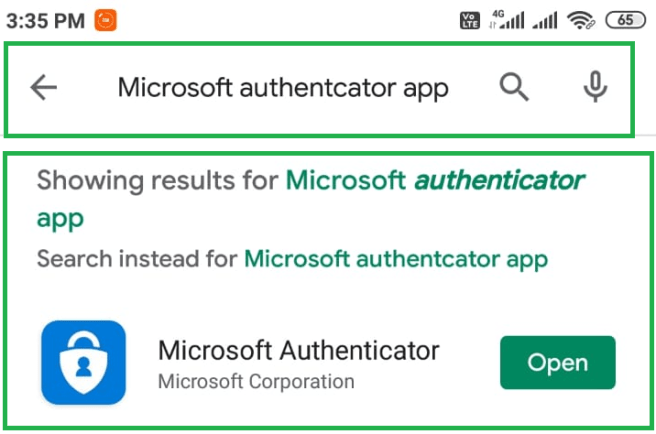 "Installing ""Microsoft authenticator app"" from Play Store on Android mobile"