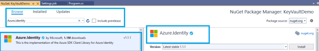 Azure - .Net Core console application - installing NuGet package - Azure.Identity