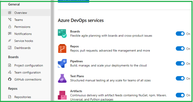 Microsoft Azure DevOps – Project Settings - Overview page - Enabling / Disabling Azure DevOps services