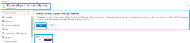 Azure - App Service -  Enabling the Identity for App Service