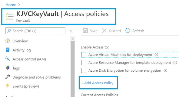 Azure - App Service - Key Vault services - Adding new policy