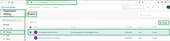 "Azure DevOps - Organization home page - Organization settings  - Selected ""Project"" option from the left pane"