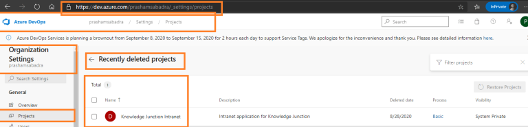 Azure DevOps - Organization setting page - Projects - Recently deleted projects