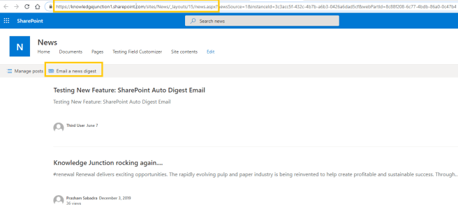 "Microsoft 365 SharePoint Online – News Digest feature – ""Email a news digest"""
