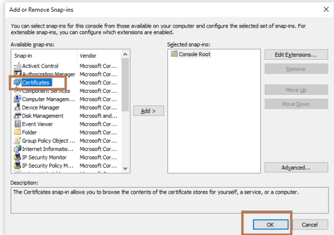 """MMC >> Add/Remove Snap-in… - Adding """"Certificates"""" snap-in from available snap-ins"""
