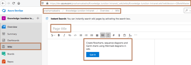 "Microsoft Azure DevOps - New Wiki for the project ""Knowledge Junction Intranet"""