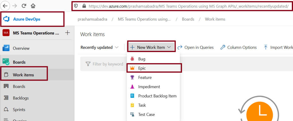 Azure DevOps - Creating new Epic in project