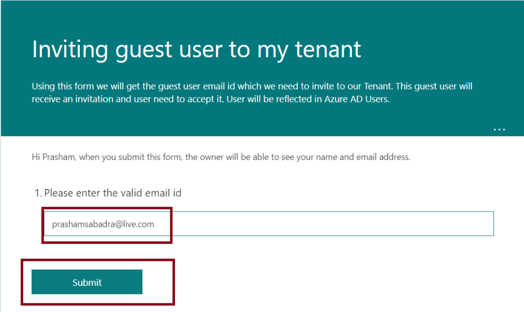 M365 - Microsoft Forms - Creating Quiz - submitting the Form
