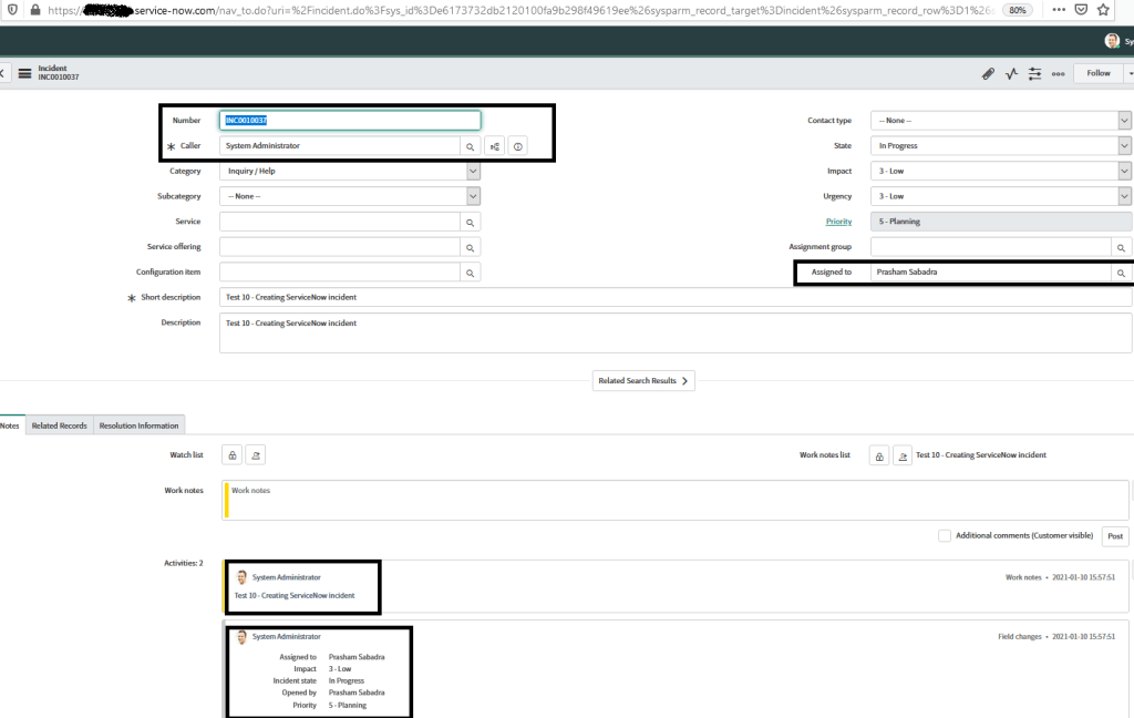 Power Automate - ServiceNow integration : After posting message ServiceNow incident is created