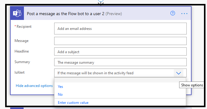 """Power Automate - ServiceNow integration - Teams action """"Post a message as the Flow bot to a user (Preview)"""""""