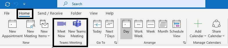 "Microsoft Outlook Desktop Client - ""Meet Now"" button is available in the ribbon of Calendar Tab for Windows"