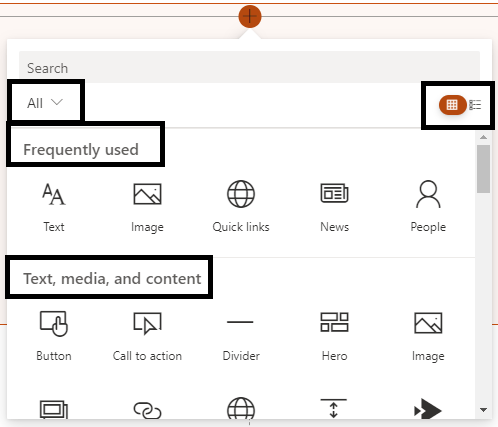 M365 - SharePoint Online - Web Part toolbox updates - Grid view - category wise webparts
