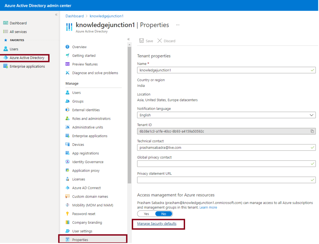 """Azure Active Directory admin center : Tenant-wide settings - """"Manage Security defaults"""" link"""