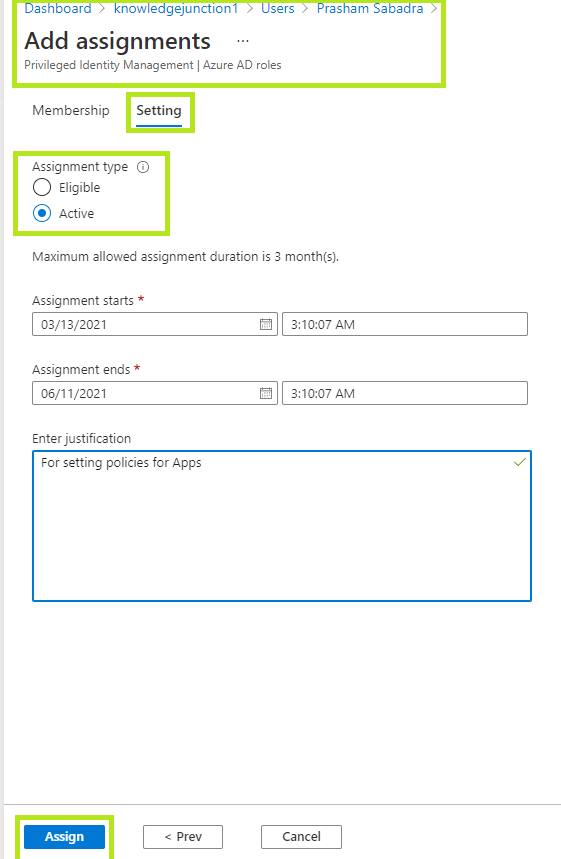 Creating custom role definition - Azure Active Directory admin center - assigning new custom role definition to user - settings
