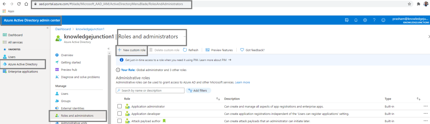 "Creating custom role definition - Azure Active Directory admin center - ""Roles and administrators"" page - ""+ New custom role"" option"