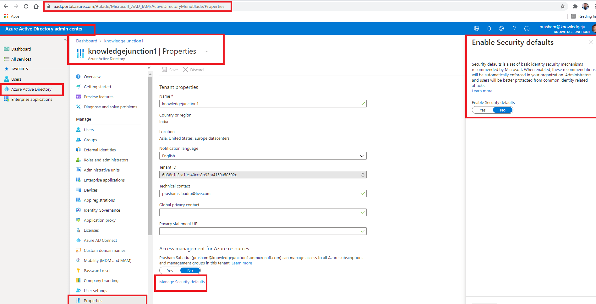 """Azure Active Directory admin center : Tenant-wide settings - """"Manage Security defaults"""" link - Enable / Disable Security defaults"""