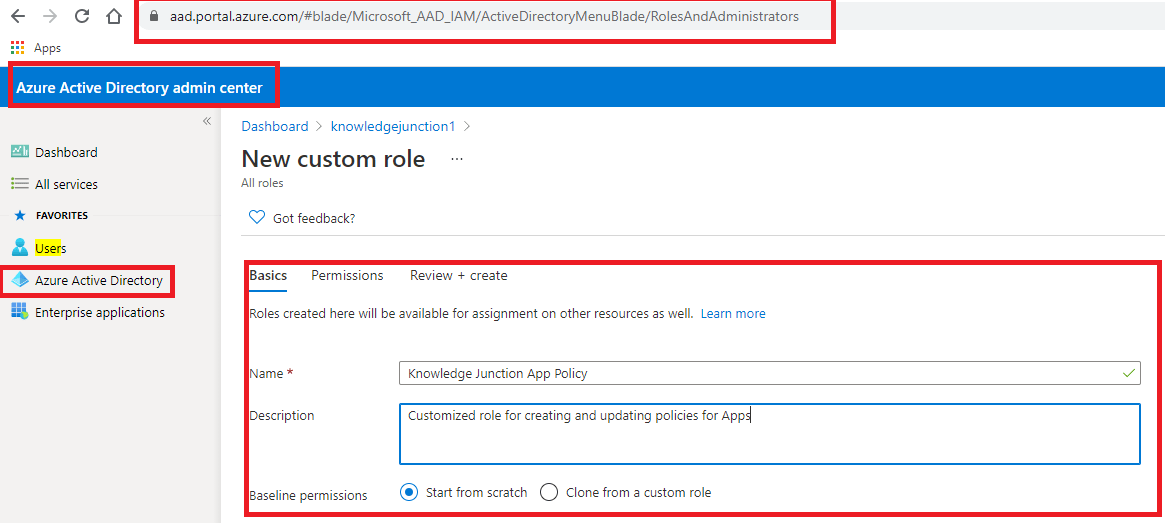 "Creating custom role definition - Azure Active Directory admin center - Basics details for new custom role definition on ""New custom role"" page"
