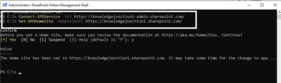 M365 - SharePoint Online - Set-SPOHomeSite PowerShell cmdlet