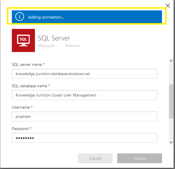 Power Automate - SQL Server connector - Adding new connection to SQL Server