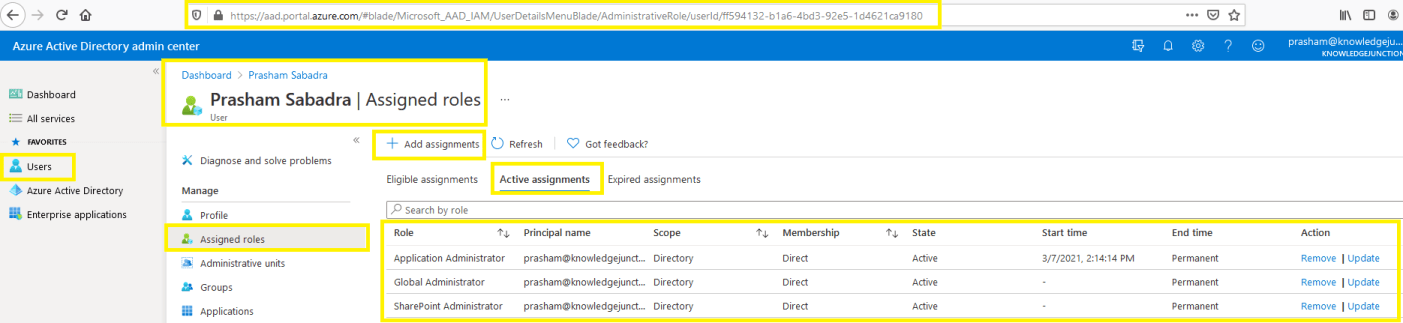 Azure Active Directory admin center - Assigned roles to respective user