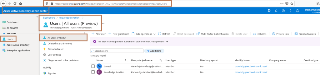Azure Active Directory admin center - All users