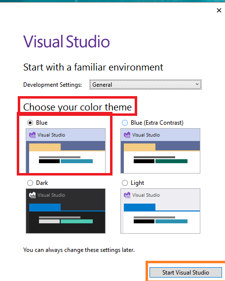 Visual Studio 2022 preview - Starting Visual Studio first time - selecting IDE color